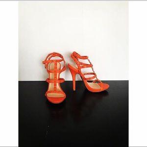Orange studded caged heels